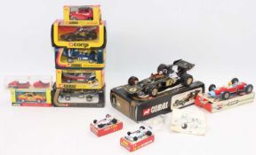A group of Boxed mainly Corgi model racing cars,in 2 trays, lot includes 2 Polistil models (Matchbox