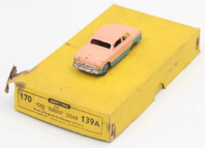 """Dinky Toys 139a original Trade box containing 1 Ford """"Fordor"""" Sedan, in scarce two-tone pink and"""