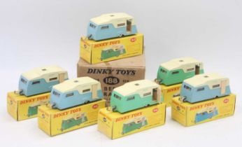 A Dinky Toys original No.188 Trade box containing 6x boxed 4-Berth Caravans in individual boxes (one