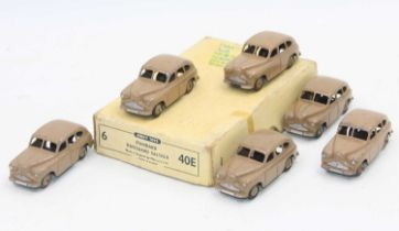 Dinky Toys 40e original Trade box of 6 Standard Vanguard Saloon in fawn with age related-wear.