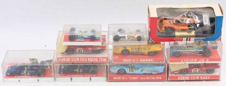 10 various plastic-cased Super Champion of France and John Day Model cars diecast race vehicles, all