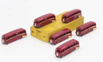 An original no.29g Dinky Trade box of 6x Luxury coaches in red, all in very good condition for age.