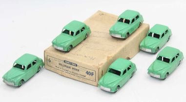 Dinky Toys 40f original Trade box of 6 Hillman Minx in green all in superb condition for age.