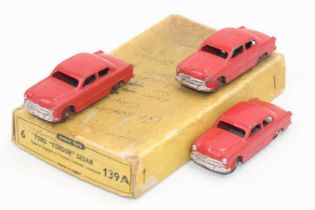 """Dinky Toys 139a original Trade box containing 3 ford """"Fordor"""" Sadan saloon cars, all in red with"""