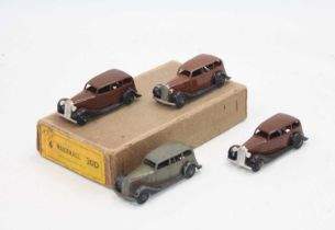 Dinky Toys No.30d original Vauxhall Trade box, containing 4 examples, 3 brown and 1 grey, two in