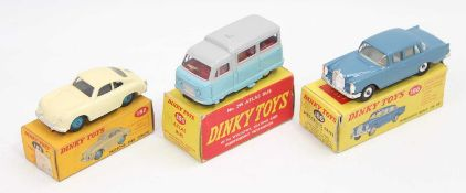 A group of 3 boxed Dinky Toys as follows: No.186 Mercedes Benz 220 SE with a poor box, No.295