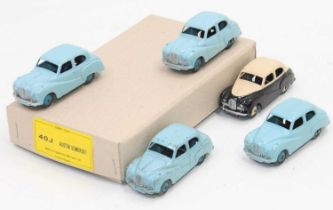 Dinky Toys 40j Austin Somersets in Reproduction Trade box containing 5 saloons, one in black and