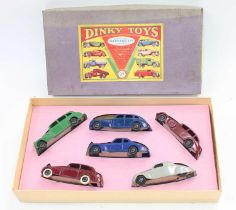 An original pre-war no.39 gift set with reproduction inner containing 6 original cars in very good -