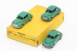 Dinky Toys 40g original Trade box containing 3 Morris Oxford saloons in green all in excellent