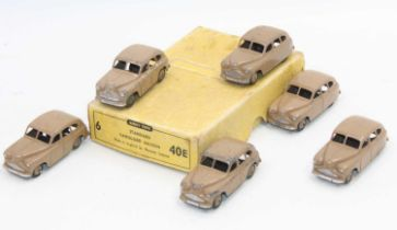 Dinky Toys 40e original Trade box of 6 Standard Vanguard Saloon in fawn with age related-wear, 3