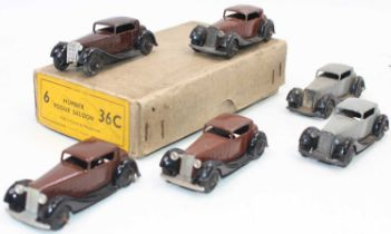 Dinky Toys No.36c original Trade box of 6 Humber Vogue Saloon cars, 4 in brown and 2 finished in