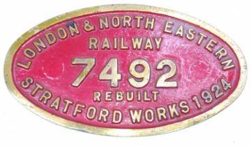 An original brass ex No.7492 LNER Stratford Works plate, which went onto be Locomotive No.62786