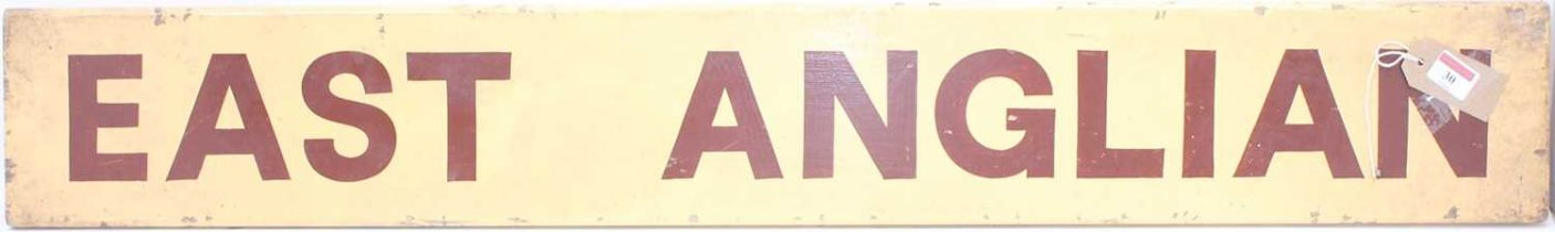 """Original wooden coach board """"East Anglian"""" brown/red lettering on a cream background, from the"""
