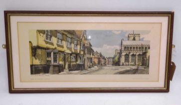 An original framed railway carriage print of Bury St Edmunds, Suffolk, taken from a watercolour by