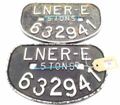 A pair of cast iron 5 Ton wagon plates, both number 632941