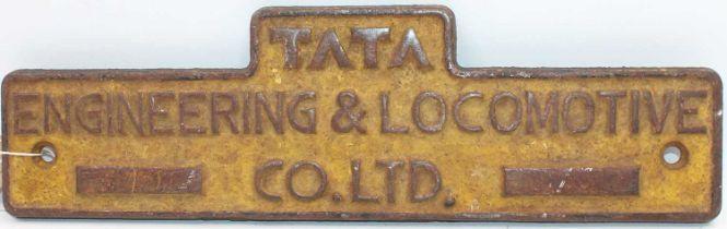 "An original cast iron Indian Railways ""Tata"" Engineering and Locomotive Co. Ltd plate, yellow"