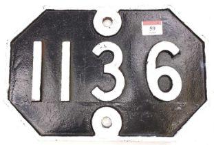 A Great Eastern Railway cast iron bridge plate, Number 1136, ex Saxham Station, white on black