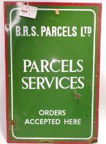 "Original BRS Parcels Ltd enamel sign, 27"" x 18"", white lettering on green background with red border"