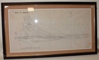 A very large framed and glazed line drawing plan of Bury St Edmunds station 1927, measurements 138cm