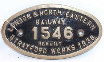 Original brass LNER Stratford Works Plate 1546, ex No.61456 Locomotive, this works plate was on