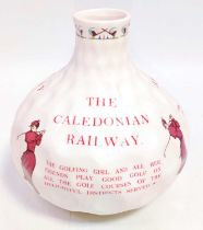 A Caledonian Railway Vase in the form of a golf ball, by JG Meakin, depicting ladies playing golf in