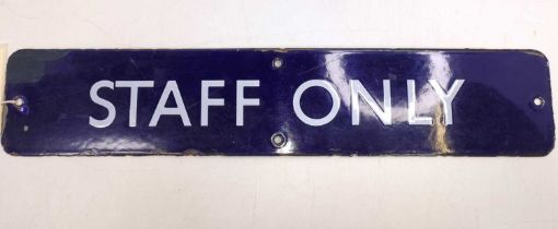 Original enamel BR Eastern region blue and white door plate, ex Bury St Edmunds, to read Staff Only