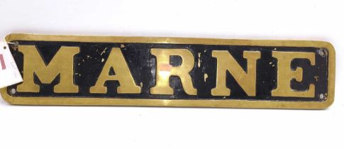 """Reproduction full-size brass nameplate """"Marne"""", the original locomotive was the LNER 4-4-0 D11"""