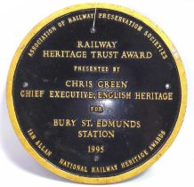 A cast metal Railway Heritage Trust Award for Bury St Edmunds station 1995, presented by Chris Green