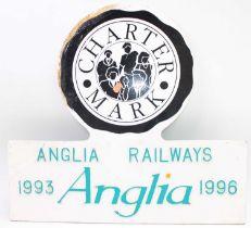"A cast metal locomotive headboard ""Charter Mark"" 1996, ex locomotive condition, as run on the"