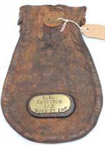 Original LNER railway leather cash bag, replated BR Thurston and Bury St Edmunds,