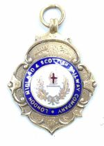 A 9ct gold hallmarked LMS enamel Winners Medal, dated 1931-32, weight 9g