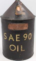 Large oil can stamped to reducing cone BRE and brass plated to read Bury St Edmunds RME, unusual