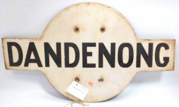 "Australian Railway Enamel Station Target Sign, ""Dandenong"" black on white enamel, the station is a"