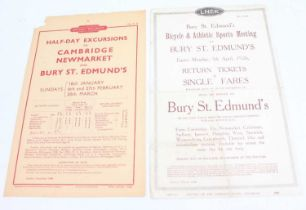 An LNER 1926 Bury St Edmunds Bicycle and Athlete Sports Meeting Tickets Flyer, with 1 other