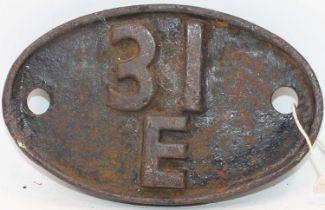 Original cast iron 31E Bury St Edmunds Shed Plate, ex Bury St Edmunds Loco