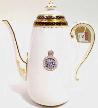 A Copeland Spode Porcelain Coffee Pot, white ground, decorated with blue and gilt decoration, with
