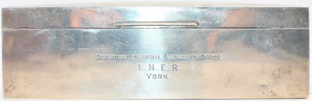 Solid Silver Rectangular Cigarette Box Presented to Mr Temple on 31st December 1927 LNER York,