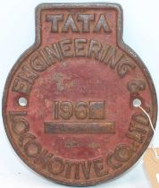 Original circular cast-iron Indian railways Tata Locomotive Engineering and Co Ltd plate, circa