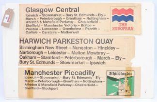 3 display cards displayed 8 various British Railways window destination stickers, naming trains that
