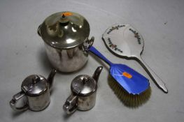 A mid 20th century silver and blue guilloche enamelled hand brush, together with a silver and