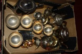 A box of miscellaneous metalware to include pocket hip flask, teapot, spirit burner and a silver
