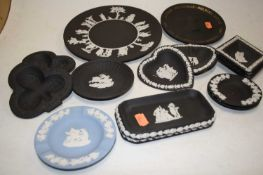 A collection of Wedgwood black basalt and jasper ware, to include plates, dishes, and an ashtray