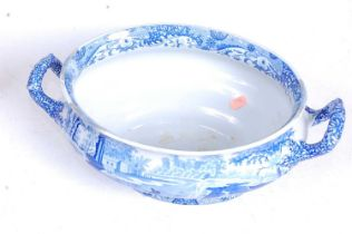 A Spode blue and white transfer decorated tureen, in the Blue Italian pattern, w.39cmCondition