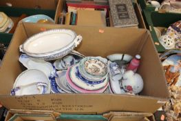 A box containing a collection of various ceramics, to include a Victorian blue and white transfer