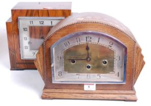 A 1930s oak cased mantel clock, the eight day movement with chimes, the silvered chapter ring