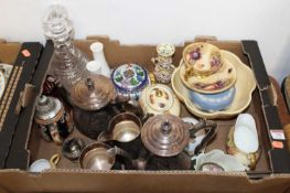 A box containing a collection of various items, to include a cloisonne enamelled jar and cover, a