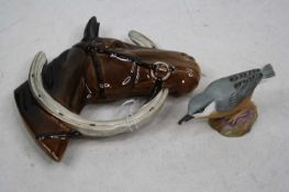 A Beswick wall mask in the form of a horse with horseshoe, model No. 807, impressed Beswick