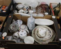 Two boxes of various glassware and ceramics, to include 18th century style grey glazed coffee pot, a