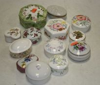 A box of various porcelain and trinket jars and covers to include Wedgwood and Royal Worcester
