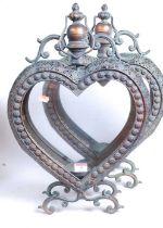 A pair of modern copper-effect heart shaped lanterns, each h.52cm